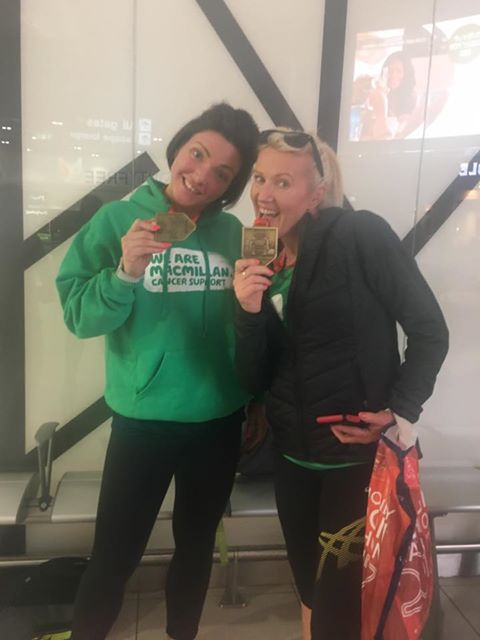 Jo and Marie Claire after finishing the London Marathon 2017.